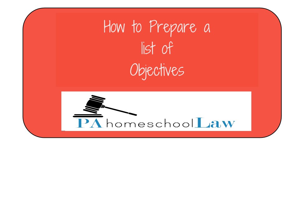 Objectives PA homeschool law